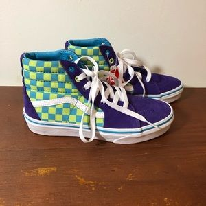 Vans Off The Wall Purple Checker High Top Sneakers